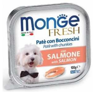 מונג' פרש פטה נתחי סלמון לכלב 100 גר'