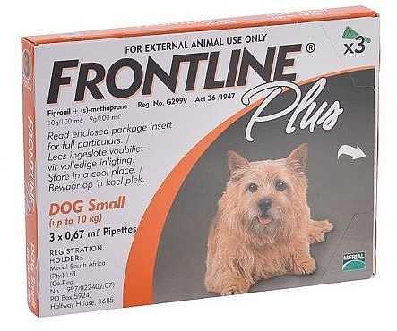 פרונטליין פלוס אמפולה נגד פרעושים לכלב קטן וזעיר