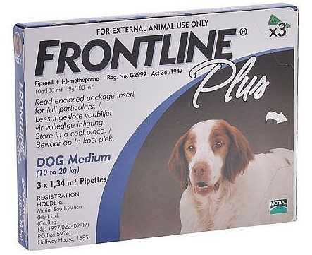 פרונטליין פלוס אמפולה נגד פרעושים לכלב בינוני
