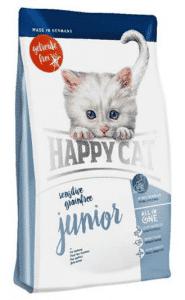 """אוכל לגורי חתולים הפי קט ללא דגנים סנסטיב ג`וניור 4 ק""""ג"""