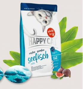 """אוכל לחתולים הפי קט ללא דגנים סנסטיב דגי ים 4 ק""""ג"""