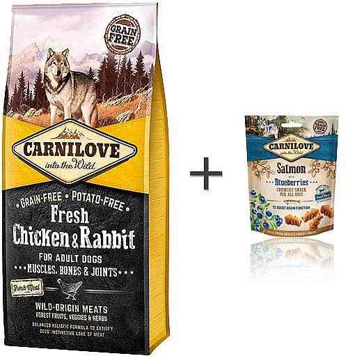 """קרנילאב פרש עוף וארנבת ג`ויינט 12 ק""""ג לכלב + חטיף קרנילאב מתנה"""