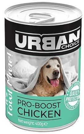 אורבן צ'ויס שימורים עוף לכלב ללא דגנים 400 גר' לכלב