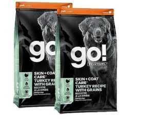 """מבצע שתי יח׳ גו! הודו סקין + קואט מופחת דגנים לכלב 11.3 ק""""ג"""