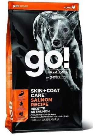 """גו! סלמון סקין + קואט מופחת דגנים לכלב 11.3 ק""""ג + 1.6 ק""""ג מתנה"""