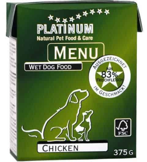 שימור פלטינום עוף לכלב 375 גר'