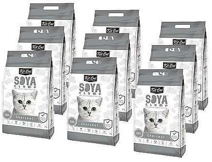 מבצע 9 יח' חול מתגבש קיט קט לחתול על בסיס סויה בתוספת פחם פעיל 7 ליטר