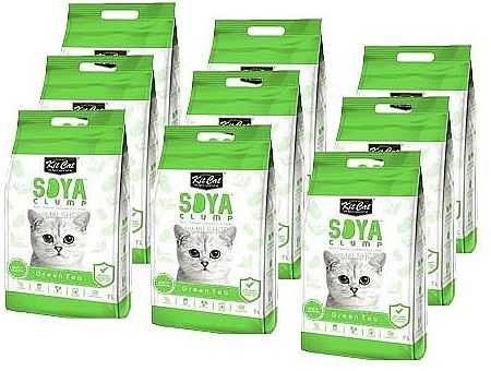 מבצע 9 יח' חול מתגבש קיט קט לחתול על בסיס סויה בריח תה ירוק 7 ליטר
