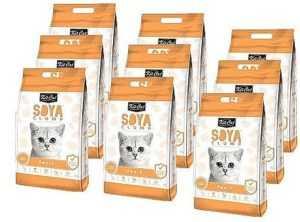 מבצע 9 יח' חול מתגבש קיט קט לחתול על בסיס סויה בריח אפרסק 7 ליטר