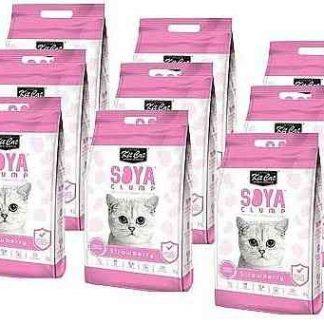 מבצע 9 יח' חול מתגבש קיט קט לחתול על בסיס סויה בריח תות שדה 7 ליטר