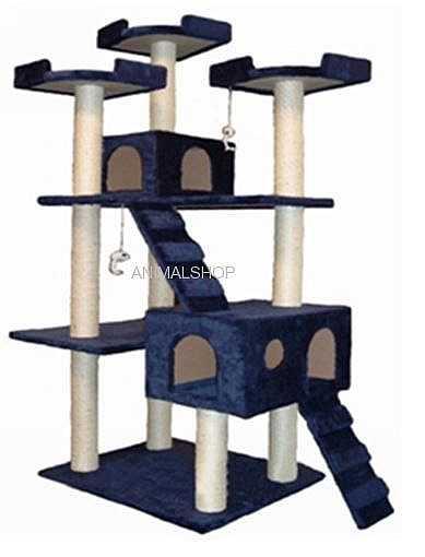 """מתקן גירוד לחתולים (כחול) גובה 178 ס""""מ"""