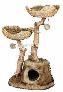"""פטקס מתקן גירוד לחתולים עץ מלא גובה 107-117 ס""""מ HY18342"""