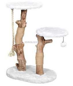 """פטקס מתקן גירוד לחתולים עץ מלא ופרווה לבנה גובה 86-76 ס""""מ HY18336"""