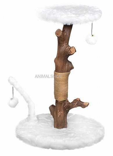 """פטקס מתקן גירוד לחתולים עץ מלא ופרווה לבנה גובה 76-66 ס""""מ HY18335"""