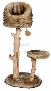 """פטקס מתקן גירוד לחתולים עץ מלא קן ציפור גובה 119-109 ס""""מ HY18340"""