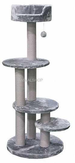 """פטקס מתקן גירוד לחתולים פרווה אפורה/שחורה גובה 129 ס""""מ PS190"""