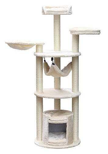 """מתקן גירוד לחתול פטקס 3 קומות גובה 145 ס""""מ PS419"""