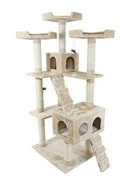"""מתקן גירוד לחתולים גובה 185 ס""""מ (קרם) QQ80038A"""