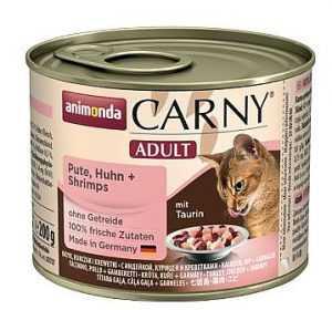 שימור לחתול אנימונדה קרני עוף הודו ושרימפס 400 גר'
