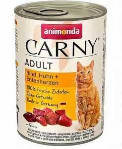 שימור לחתול אנימונדה קרני בקר עוף ולבבות ברווז 400 גר'