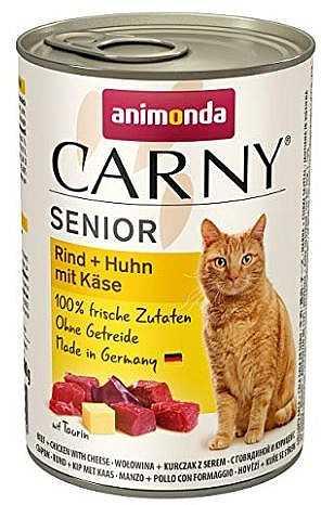 שימור לחתול אנימונדה קרני סניור בקר עוף וגבינה 400 גר'