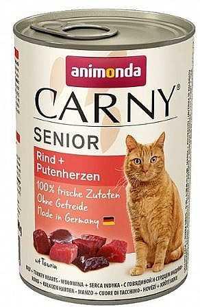 שימור לחתול אנימונדה קרני סניור בקר הודו ולבבות 400 גר'