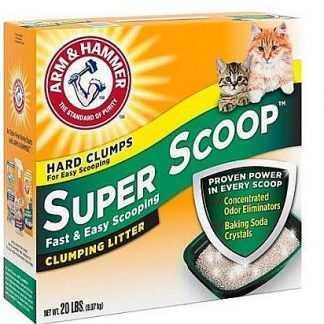 """חול מתגבש לחתולים סופר סקופ מבושם בתוספת סודה לאפייה ארם אנד המר 9 ק""""ג"""