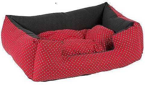 מיטה לכלב אדום מנוקד כותנה