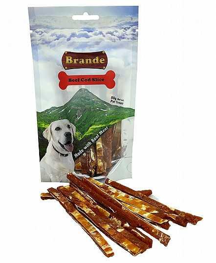 ברנד נתחי בקר ובקלה חטיף לכלב 80 גר'