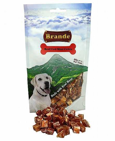 ברנד מיני בקר ובקלה חטיף לכלב 80 גר'