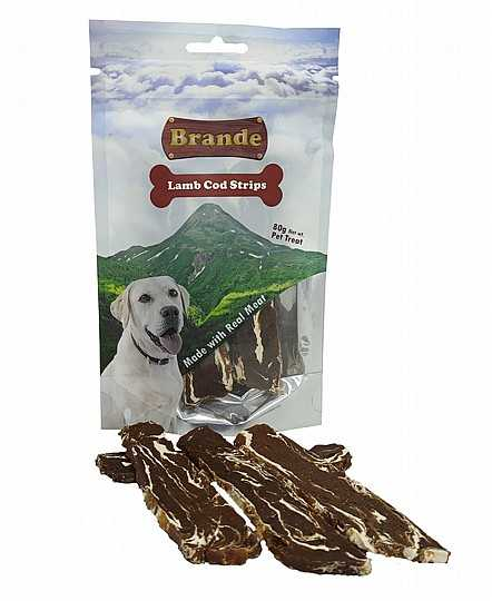 ברנד כבש ובקלה חטיף רצועות לכלב 80 גר׳