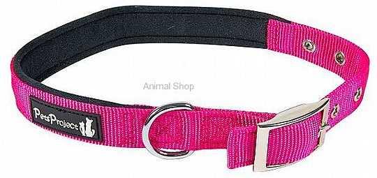 קולר מרופד לכלבים עם אבזם מתכת S במגוון צבעים
